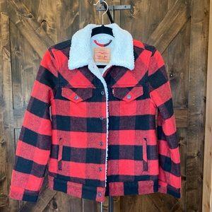 Plaid wool Sherpa lined Levi's jacket size XS